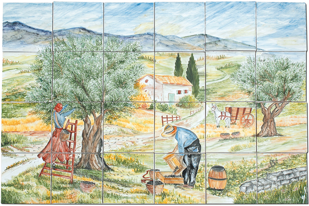 Carrelage d coration cueillette des olives fresque for Carrelage terre cuite provence